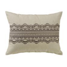 See Details - Charlotte Tan Burlap W/ Gray Scallop Lace Design Pillow, 16x20
