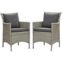 Conduit Outdoor Patio Wicker Rattan Dining Armchair Set of 2 in Light Gray Charcoal