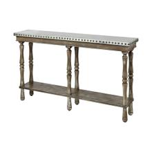 Rhodes Console Table In Warm Washed Oak and Galvanized Metal