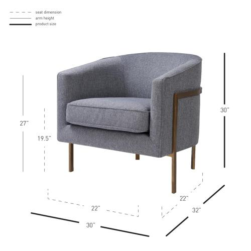 New Pacific Direct - Harrod Fabric Accent Arm Chair Antique Gold Legs, Anson Tweed Gray
