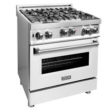ZLINE 30 in. Professional Gas on Gas Range in Stainless Steel with White Matte Door (RG-WM-30)