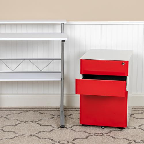 Flash Furniture - Modern 3-Drawer Mobile Locking Filing Cabinet with Anti-Tilt Mechanism & Letter\/Legal Drawer, White with Red Faceplate