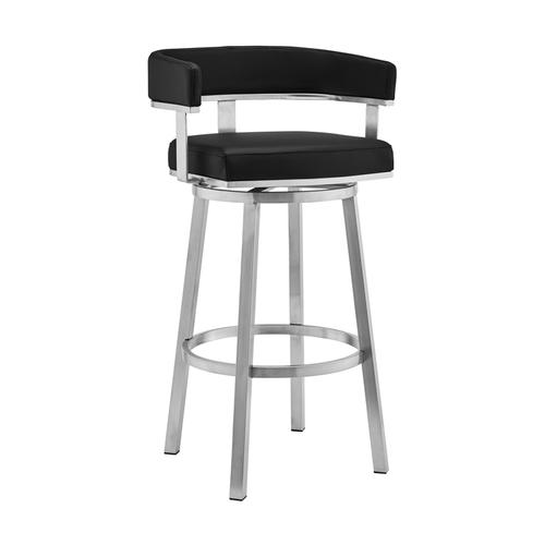 """Armen Living - Lorin 26"""" Black Faux Leather and Brushed Stainless Steel Swivel Bar Stool"""