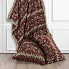 Fair Isle Red & Brown Knit Throw Blanket