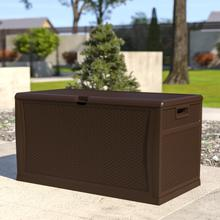 See Details - 120 Gallon Plastic Deck Box - Outdoor Waterproof Storage Box for Patio Cushions, Garden Tools and Pool Toys, Brown
