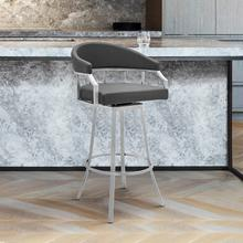 """Valerie 30"""" Bar Height Swivel Barstool with Brushed Stainless Steel Finish and Grey Faux Leather"""