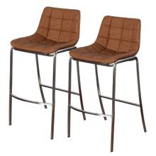 LIGHT TUFTS  20in w X 41in ht X 22in d  Set of Two Ochre Bar Stools with Stainless Steel Legs