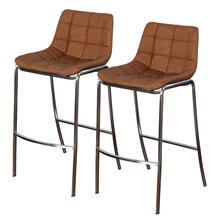 LIGHT TUFTS  23in w X 41in ht X 21in d  Set of Two Ochre Bar Stools with Stainless Steel Legs