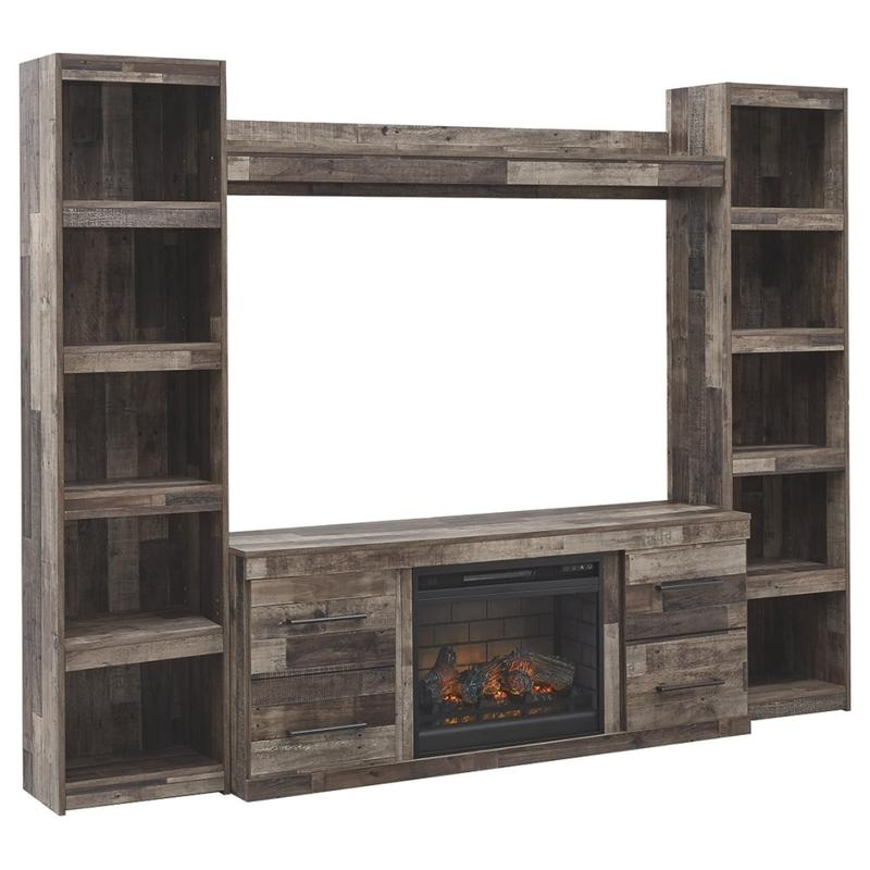 View Product - Derekson 4-piece Entertainment Center With Electric Fireplace