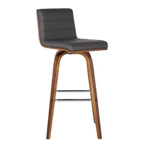 "Armen Living Vienna 26"" Barstool in Walnut Wood finish with Gray Pu upholstery"