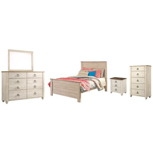Product Image - Full Panel Bed With Mirrored Dresser, Chest and Nightstand
