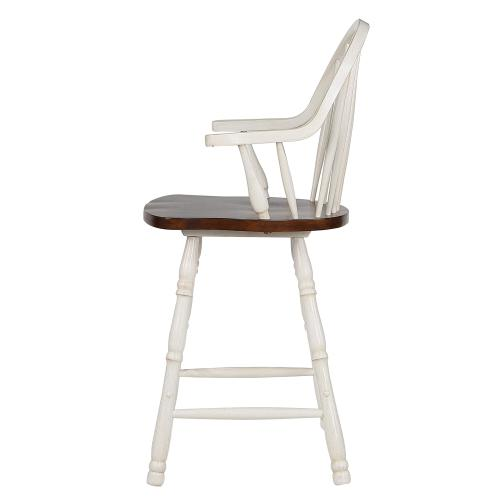 Product Image - Windsor Counter Height Arm Stool - Antique White & Chestnut Brown (Set of 2)