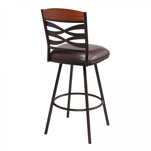 """Armen Living - Arden Contemporary 30"""" Bar Height Barstool in Auburn Bay Finish with Brown Faux Leather and Sedona Wood Finish Back"""
