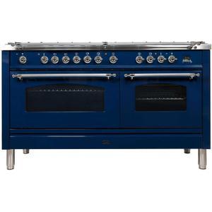 60 Inch Blue Dual Fuel Liquid Propane Freestanding Range