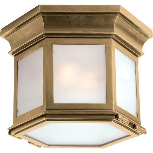 Visual Comfort CHC4125AB-FG E. F. Chapman Club 3 Light 12 inch Antique-Burnished Brass Flush Mount Ceiling Light in Frosted Glass