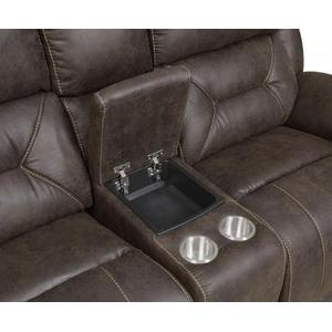 Aria Dual-Power Loveseat w/Console, Saddle Brown