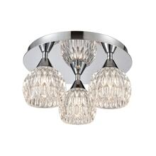 Kersey 3-Light Semi Flush Mount in Polished Chrome with Clear Crystal