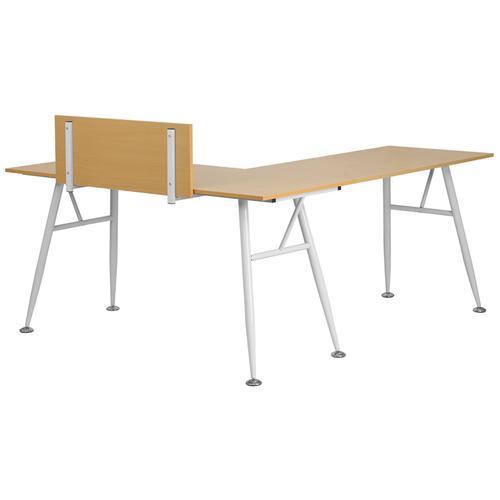 Flash Furniture - Beech Laminate L-Shape Computer Desk with White Metal Frame