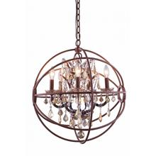 Geneva 5 light Rustic Intent Pendant Golden Teak (Smoky) Royal Cut crystal