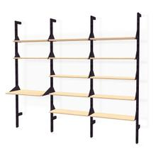 Branch-3 Shelving Unit with Desk Black Uprights Black Brackets Blonde Shelves