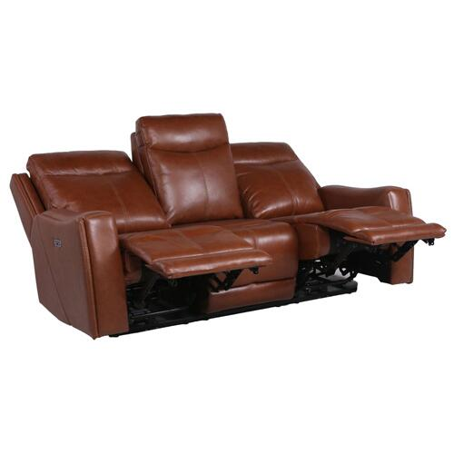 Natalia Leather Dual-Power Reclining Sofa, Coach