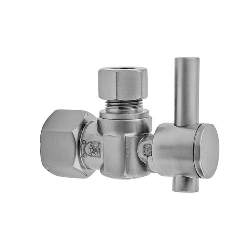 """Unlacquered Brass - Quarter Turn Angle Pattern 1/2"""" IPS x 3/8"""" O.D. Supply Valve with Contempo Lever Handle"""