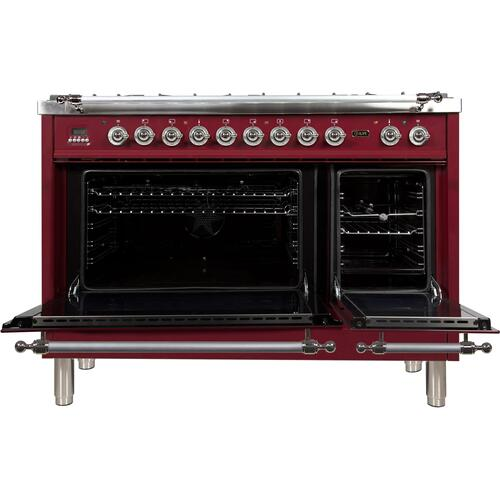 Nostalgie 48 Inch Dual Fuel Natural Gas Freestanding Range in Burgundy with Chrome Trim