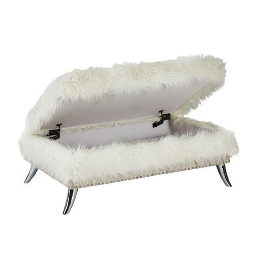 Modern Sheepskin Storage Ottoman