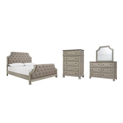 Ashley - California King Upholstered Panel Bed With Mirrored Dresser and Chest