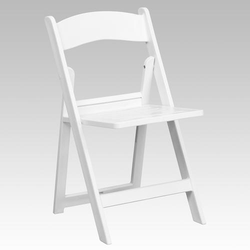Flash Furniture - HERCULES Series 1000 lb. Capacity White Resin Folding Chair with Slatted Seat