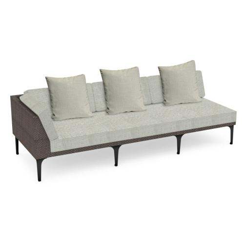"""98"""" Outdoor Dark Grey Rattan 3 Seat L-Shaped Right Sofa Sectional, Upholstered in Standard Outdoor Fabric"""
