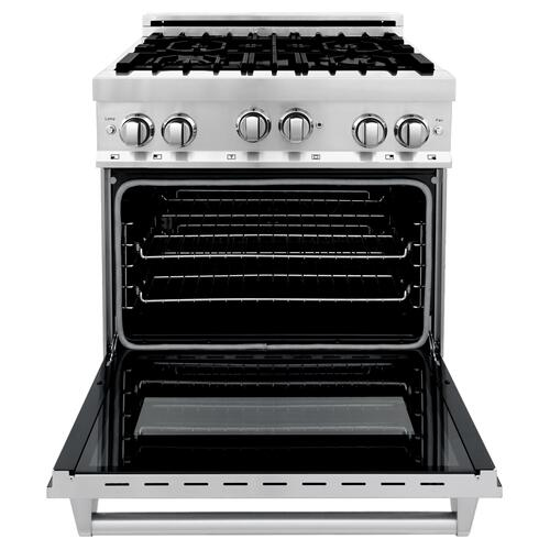 """Zline Kitchen and Bath - ZLINE 30"""" 4.0 cu. ft. Range with Gas Stove and Gas Oven in Stainless Steel with Color Door Options (RG30) [Color: Blue Gloss]"""