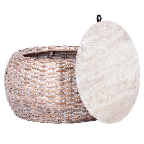 Safavieh - Klarysa Wood and Rattan Coffee Table - Natural White Wash