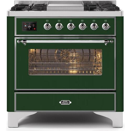 Product Image - Majestic II 36 Inch Dual Fuel Natural Gas Freestanding Range in Emerald Green with Chrome Trim