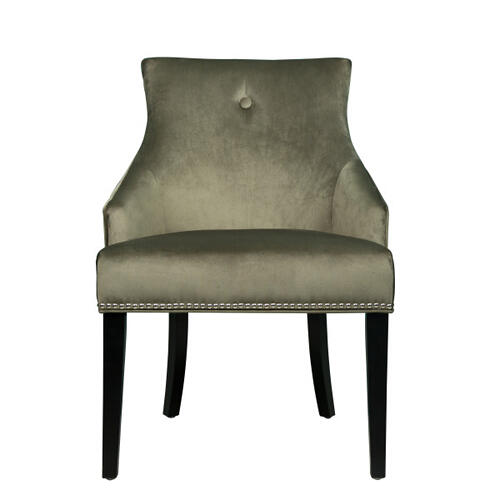 Nailhead Trimmed Upholstered Dining Chair in Moss Green