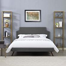 Corene Queen Fabric Platform Bed with Round Splayed Legs in Gray