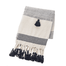 Black & Natural Striped Woven Throw with Braided Tassels