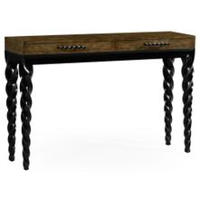 Black finish rectangular console with barleytwist legs