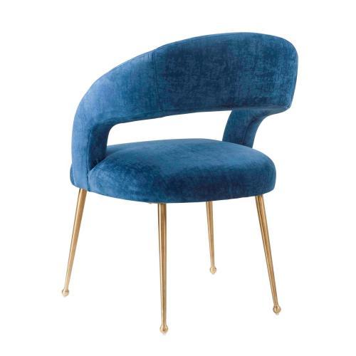 Tov Furniture - Rocco Slub Navy Dining Chair