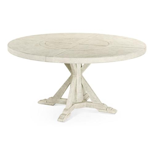 """60"""" Whitewash Driftwood Round Dining Table with Inbuilt Lazy Susan"""