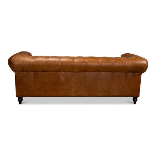 Tufted English Club Sofa, Vienna Brown