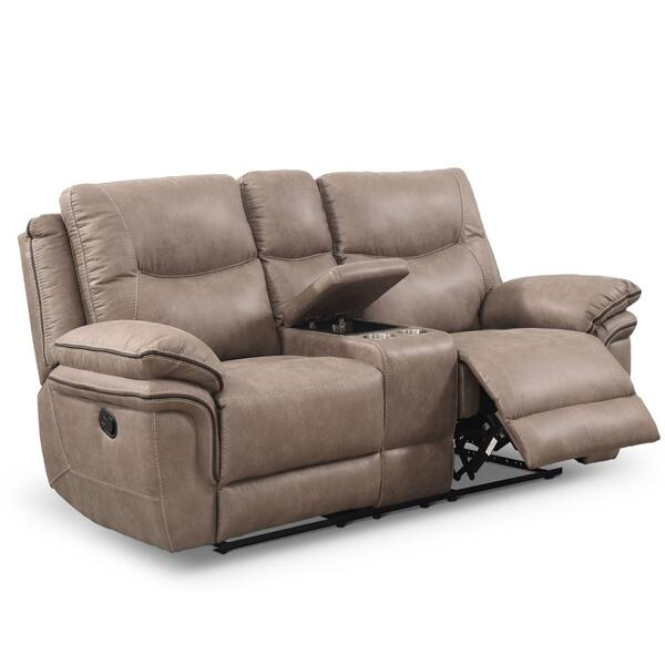 See Details - Isabella Manual Reclining Console Loveseat, Sand