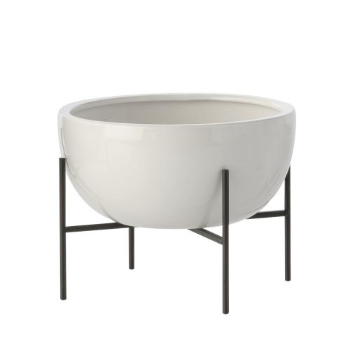 Quasar White Bowl on metal stand, Small