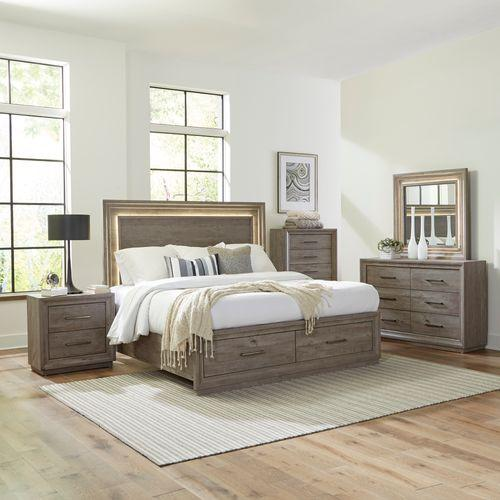 King Storage Bed, Dresser & Mirror, Chest, Night Stand
