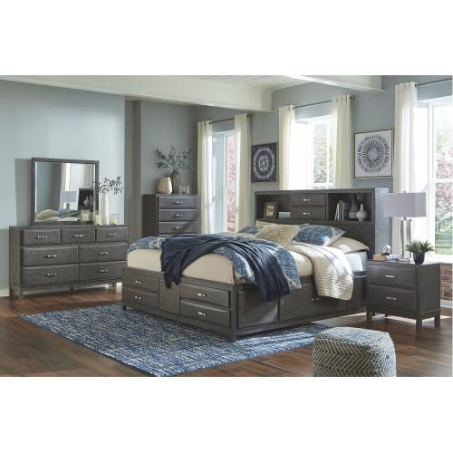 King Storage Bed With 8 Storage Drawers With Mirrored Dresser