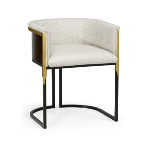 Low Back Black Eucalyptus & Brass Tub Dining Chair, Upholstered in COM