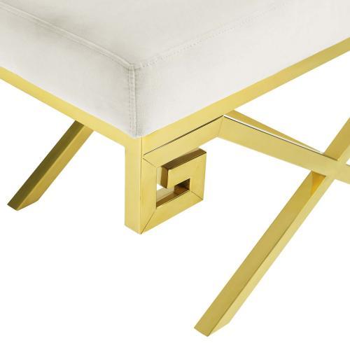 Modway - Rove Velvet Performance Velvet Bench in Gold Ivory
