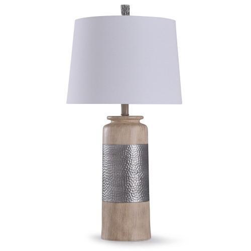 Haver Hill  31in Traditional Resin Carved Table Lamp with Painted Hammered Silver Band  150W  3-