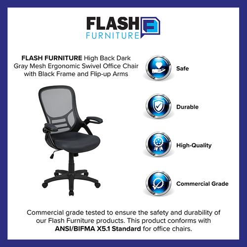 Flash Furniture - High Back Dark Gray Mesh Ergonomic Swivel Office Chair with Black Frame and Flip-up Arms