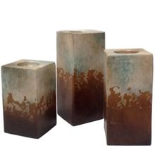 View Product - Water Blue Cube Candleholders (Set of 3)